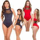 Damen Body Overall Catsuit Neopren Jersey Netzeinsatz Chiffon 34 36 sexy Dessous