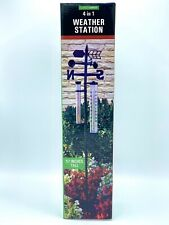 """4 in 1 Yard Weather Station 57"""" Tall Weather Vane Rain Gauge Thermometer"""