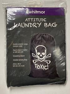 Whitmor Mesh 24x36 Inch Attitude Laundry Bag - Black w/ Skull - TOXIC!