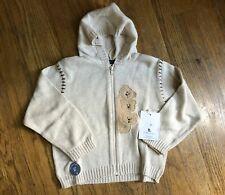 New Petit Ami Elite Oatmeal Zip Up Bear Hooded Cardigan Boy Size 4T 3T