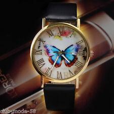 Montre Quartz Tendance Originale Cadran papillon Pour Femme Bracelet Noir PROMO