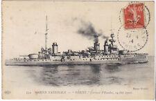 1914 WWI French Navy Dreadnought Battleship Cruiser Vérité Postcard RPP