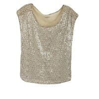 Ann Taylor LOFT Sequin Tee Multi Color Cap Sleeve Scoop Neck Womens Size Small S