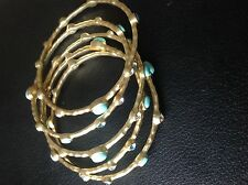 Satin Stackable Bangles With Turquoise Gemstone in Matte/ Brushed Finish
