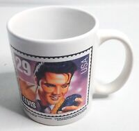 Vintage 1992 Elvis Presley USPS Stamp Design White Coffee Mug Tea Cup The King