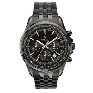 Accurist Chronograph Quartz Black Dial Black Steel Bracelet Men's Watch 7250