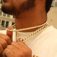 "14k Gold Pl Fully Cz Cuban & 1 Row Tennis Chain Choker 2pcs Bundle Set 20"",20"""