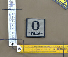 "Ricamata / Embroidered Patch ""Blood type 0 NEG -"" C. Tan with VELCRO® brand hook"