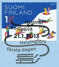 Finland 2013 Used Stamp on Paper- Winter Snow - Sled Toboggan - First Day Cancel