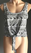 Pre-owned Black & White SPORTSGIRL Elephant Print Tie Front Crop Top Size M/12