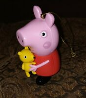"3.5"" Peppa Pig w/ Teddy Bear Christmas Tree Ornament 2003 Vintage Holiday Toy"