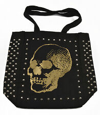 """E.vil Womens Cotton Tote Bag """"Three Quarter Skull Gold Ink with Spikes"""" Black"""