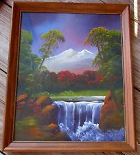 "Vtg. Waterfall Oil Painting Landscape 1970's Iowa State Fair Art Show 20"" Hivley"
