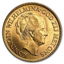 Netherlands Gold 10 Guilders BU - SKU #13146