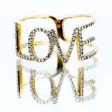 .20 ct Diamond Love Cocktail Ring 14k Yellow Gold F Vvs1