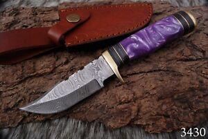 CUSTOM Handmade HAND FORGED DAMASCUS STEEL Hunting KNIFE Fix Blade Knife+sheath