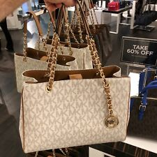 NWT Michael Kors Susannah Vanilla PVC Large Shoulder Tote Bag Purse