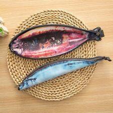 Funny PU Saury Fish Shape Zipper Pencil Bag Stationery Supplies Pencil Case