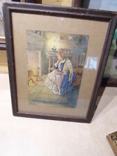 antique wood  picture frame - antique print women at fireside, 9 by 7 in  # 380