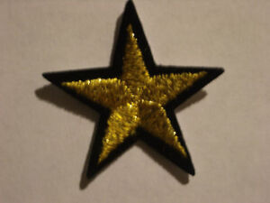 GOLD STAR, BLACK BORDER EMBROIDERY APPLIQUE PATCH EMBLEM LOT (6 DOZEN)