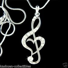 w Swarovski Crystal TREBLE G CLEF Love MUSIC MUSICAL NOTE Heart Pendant Necklace