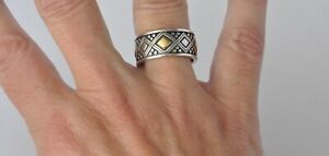Konstantino Mens Ring 12 Sterling Silver 18K Gold Achilles Wedding Band New