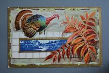 R&L Postcard: Greetings, Thanksgiving Turkey Embossed