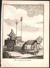 Chine. Char de guerre du Général. Gravure sur acier. 1785