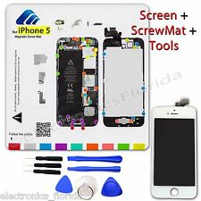 LCD Digitizer Glass Touch Screen + Magnetic ScrewMat + Tools for Iphone 5 White