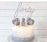 Forty Cake Topper Forty 40th Silver Glitter birthday script large cake toppers