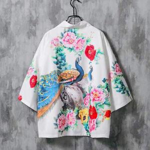 Men Women Floral Kimono Jacket Japanese Casual Style Loose Yukata Cardigan Coat