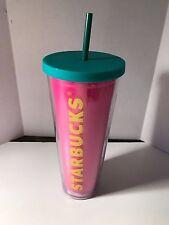 Starbucks Cold Cup Travel Tumbler Mug 24oz Plastic Acrylic Pink Venti Size