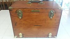 Vintage Wood & Brass Fishing Tackle Box