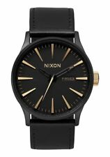 Nixon Sentry Leather Watch Matte Black/Gold NEW in box