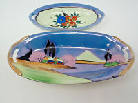 Vintage Set of 2 Japanese Handled Hand Painted Farm Bright Blue Serving Bowls