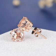 1ct Round Cut Champagne Morganite Royal Stud Earrings Women 14k Solid Rose Gold