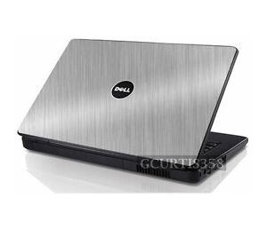 BRUSHED ALUMINUM Vinyl Lid Skin Cover fits Dell Inspiron 1545 1546 Laptop