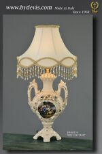 Table lamp with painting and crystal