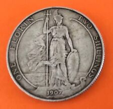 1907 EDWARD V11 FLORIN COIN. SOLID SILVER, NICE CONDITION. Ref.46