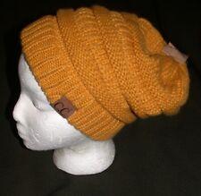New Womens Knit C.C. BEANIE Mustard Gold Ski Hat Cap NWT Slouchy Winter CC