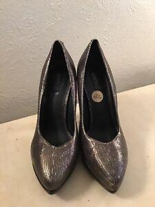 All Saints Spitalfields Jack Place Gold/black High Heel Leather Shoes Size UK5