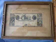 Vintage Five Dollar Mechanics Bank Note 1861 Augusta, Georgia Framed