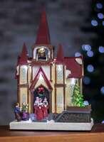 Multi Colour LED Christmas Church & Choir Ornament Battery Operated Xmas Decor
