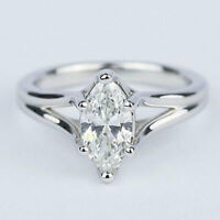 3 Ct Near White Marquise Cut Moissanite Engagement Ring 10K White Gold All Size