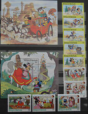 1985- ANTIGUA - WALT DISNEY- TWAIN+GRIMM-MICHEL 899-903+905-909+BLOCK 101-102
