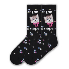 K. Bell Women's I Love CAT NAPS, Birds on Black  Women's Crew Sock Size: 9-11