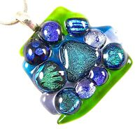 DICHROIC Fused Glass PENDANT Slide Green Blue Abstract Recycled Patterned Dicro