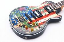 Blau Gibson E-Gitarre Miniatur Sammelobjekt 9cm in Hölzerner Hülle Neu //