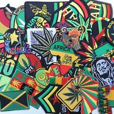 Random Mixed Lot Rasta Reggae Cannabis Judah Hippie Africa Iron-On Patches #002