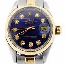 Rolex Datejust Ladies 2Tone 14K Yellow Gold Steel Watch Blue Diamond Dial 6917